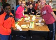 Decorating cookies with 4th grade